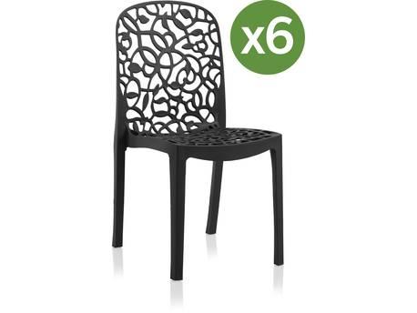 """Lot de 6 chaises jardin """"Flora"""""""