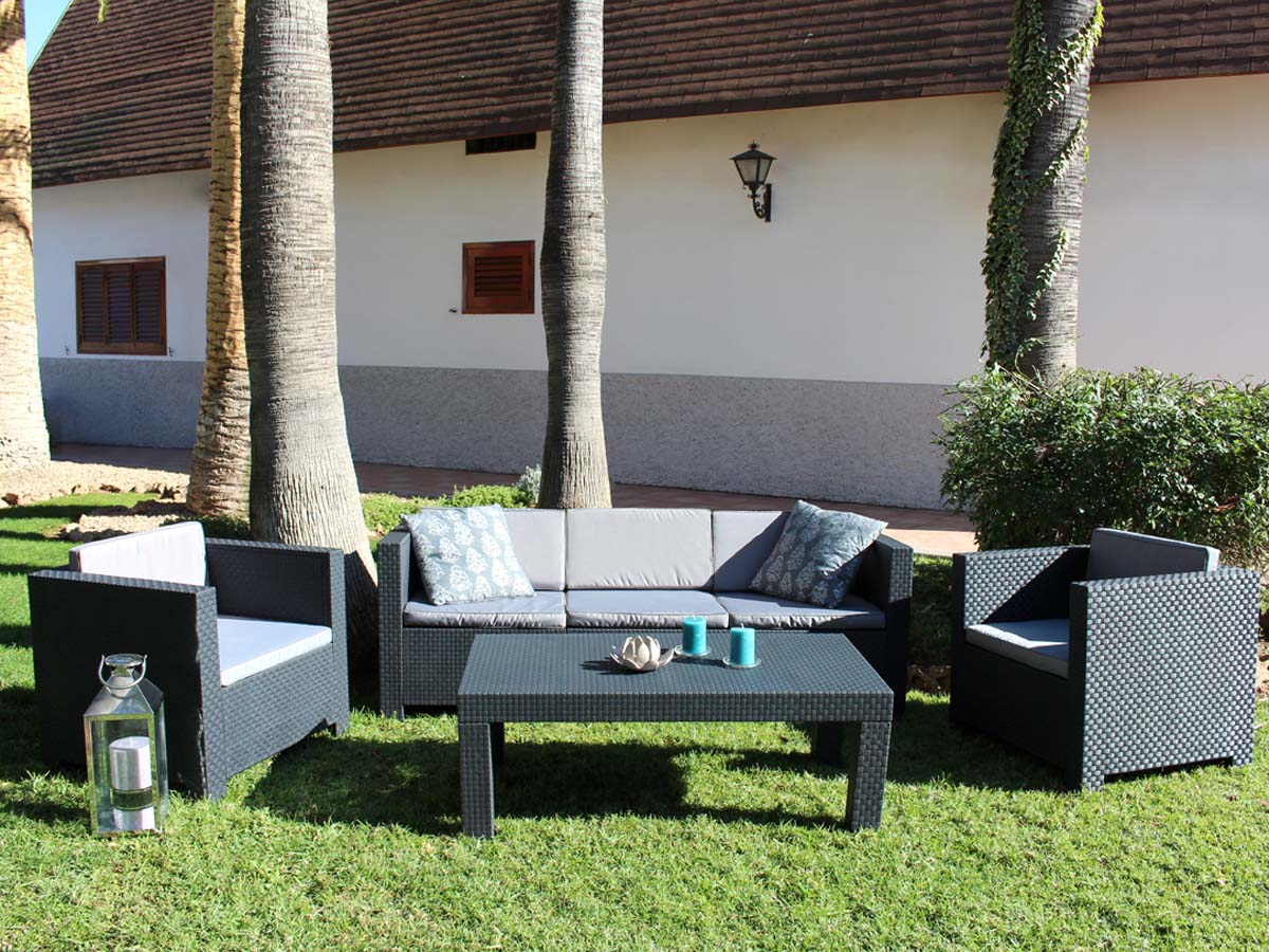 Salon de jardin en r sine tropea anthracite 89573 for Salon jardin habitat