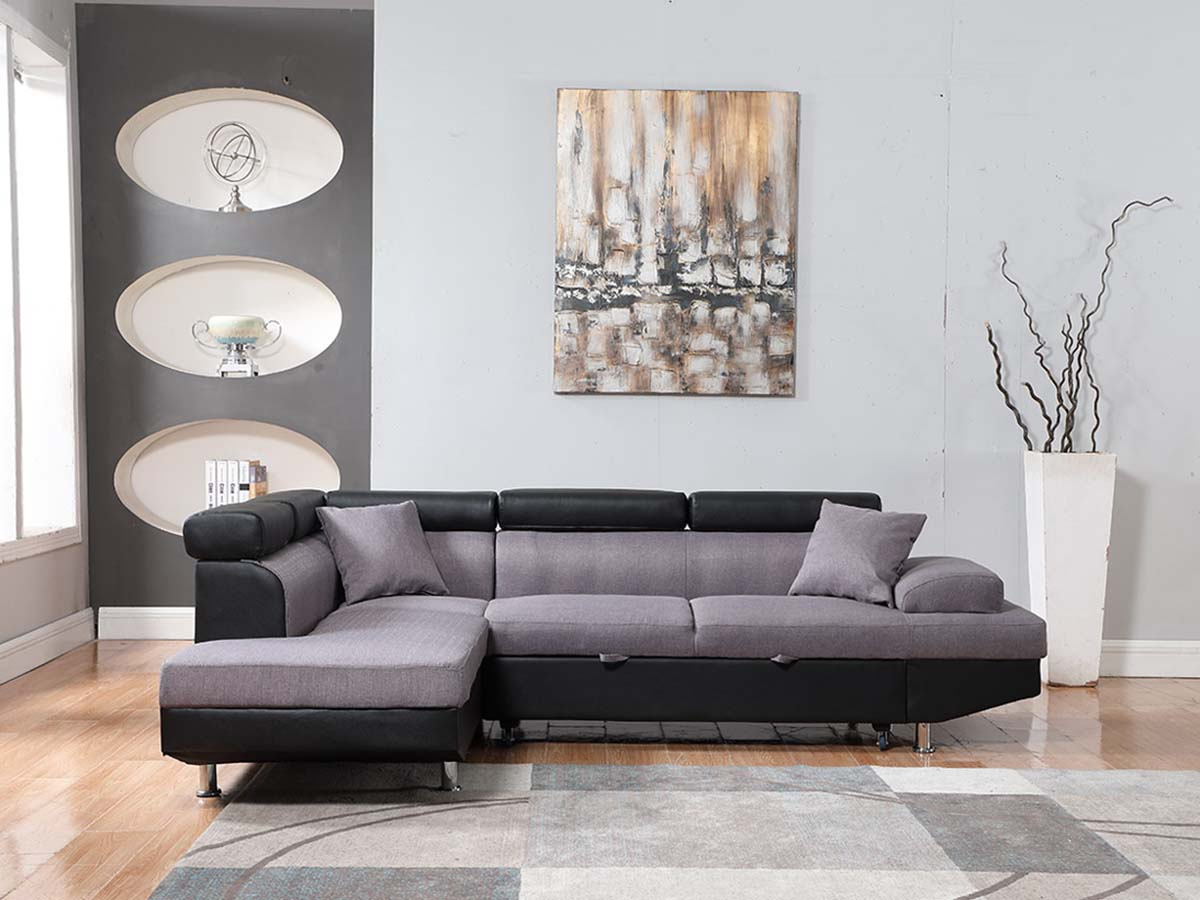 canap d 39 angle convertible sophia luxe noir gris angle gauche 92486. Black Bedroom Furniture Sets. Home Design Ideas