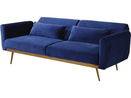 """Canapé Clic Clac en velours """"Donia"""" - 203 x 81 x 83 cm - 3 places -  Bleu foncé"""