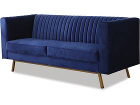 """Canapé fixe en velours """"Clover"""" - 196 x 76 x 82 cm - 3 places - Bleu foncé"""