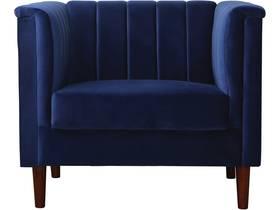 """Fauteuil en velours """"Ellison"""" - 97 x 76 x 82 cm - 1 place - Bleu foncé"""
