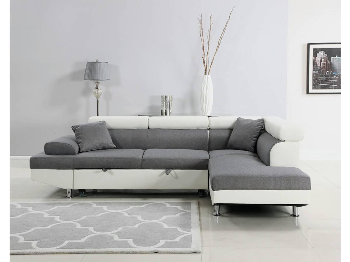 Canapé D Angle Convertible Sophia Luxe Blanc Gris 5