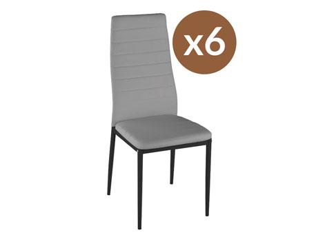 """Lot de 6 chaises """"Lina"""" - Gris"""