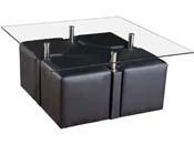 "Table basse ""Sophia"" + 4 poufs - 102 x 102 x 45 cm - Noir"