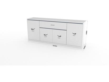 "Buffet enfilade "" Mito "" - 210 x 45 x 85 cm - Blanc laqué"