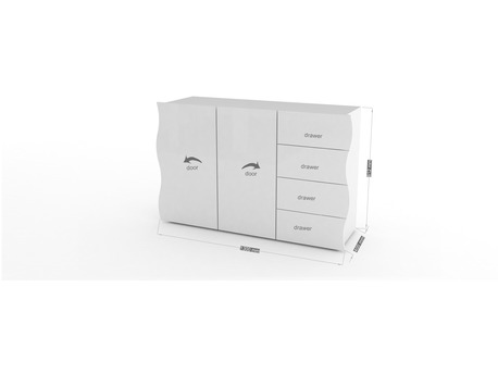 "Commode "" Onda "" - 130 x 40 x 81.2 cm - Blanc laqué"