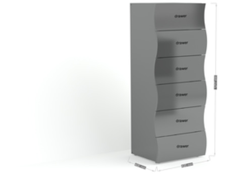 "Commode ""Onda"" - 6 tiroirs - 50 x 39,5 x 121,5 cm - gris laqué"
