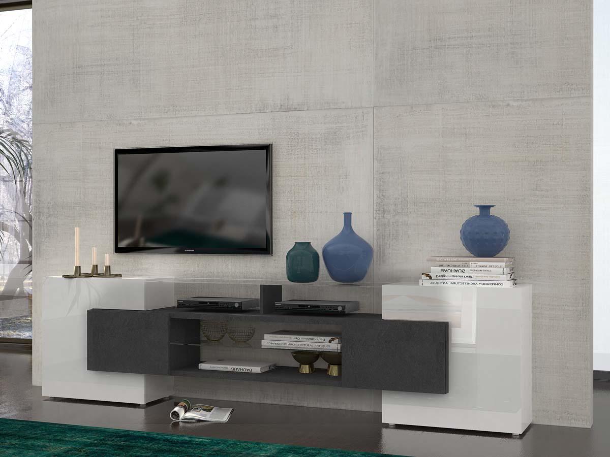 Meuble Tv Slave Blanc 92999 # Meuble Pour Tele En Melamine Noir Et Blanc