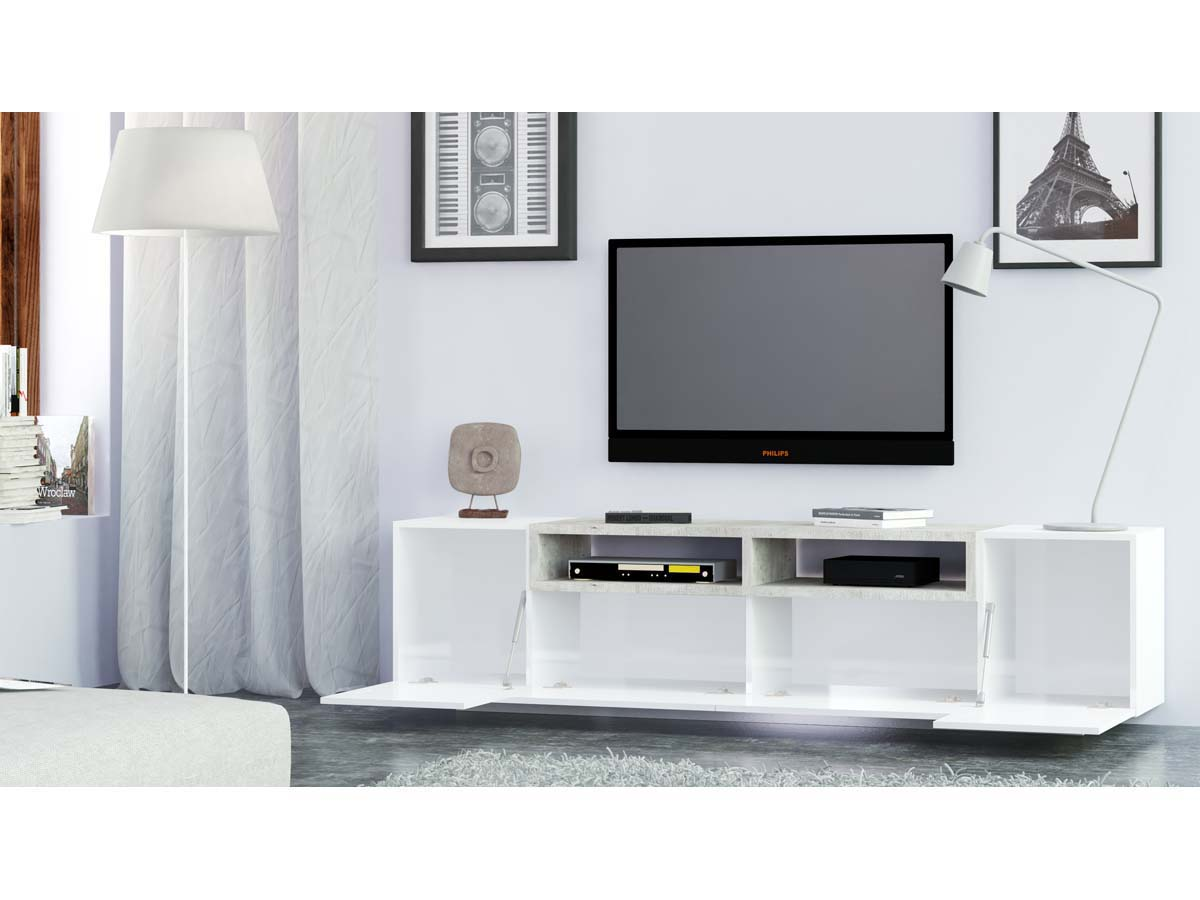 Meuble Tv Jim Blanc B Ton 200 X 40 X 51 Cm 93000 # Vente Flash Meuble Tv