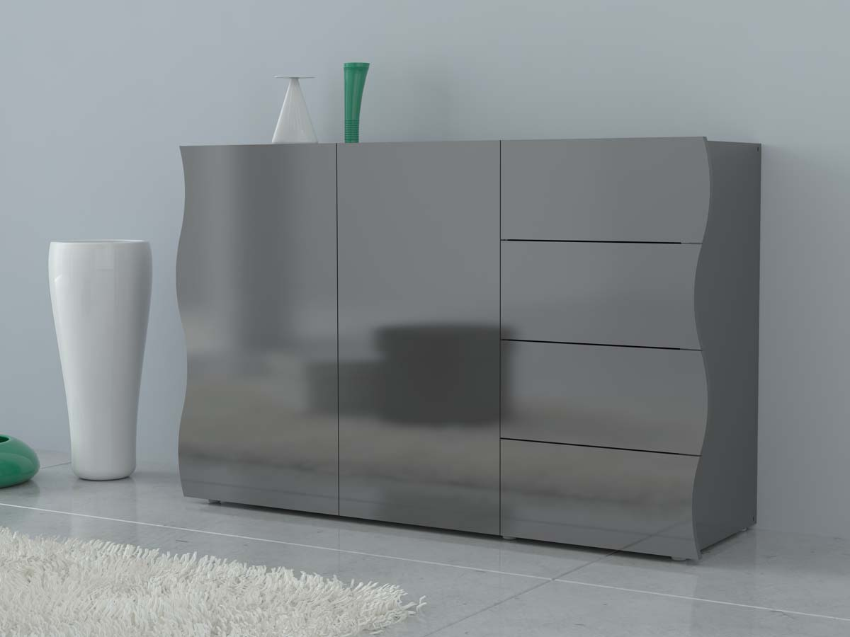 "meuble ""onda"" - 130 x 40 x 81 cm - gris laqué 93047 93051"