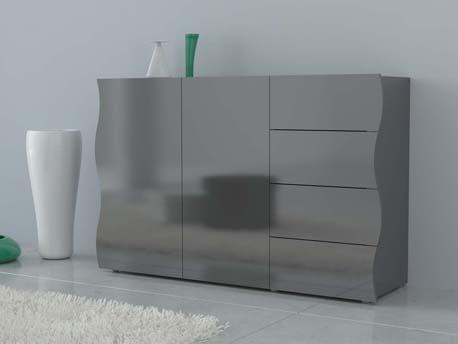 "Meuble ""Onda"" - 130 x 40 x 81 cm - gris laqué"