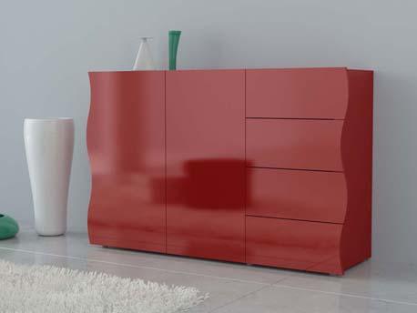 "Meuble ""Onda"" - 130 x 40 x 81 cm - rouge laqué"