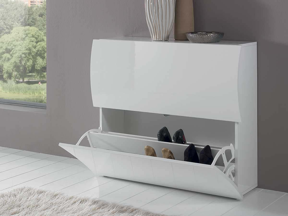 "Meuble Blanc Laqué Brillant meuble à chaussures ""onda"" - blanc laqué - 101 x 26,5 x 81"