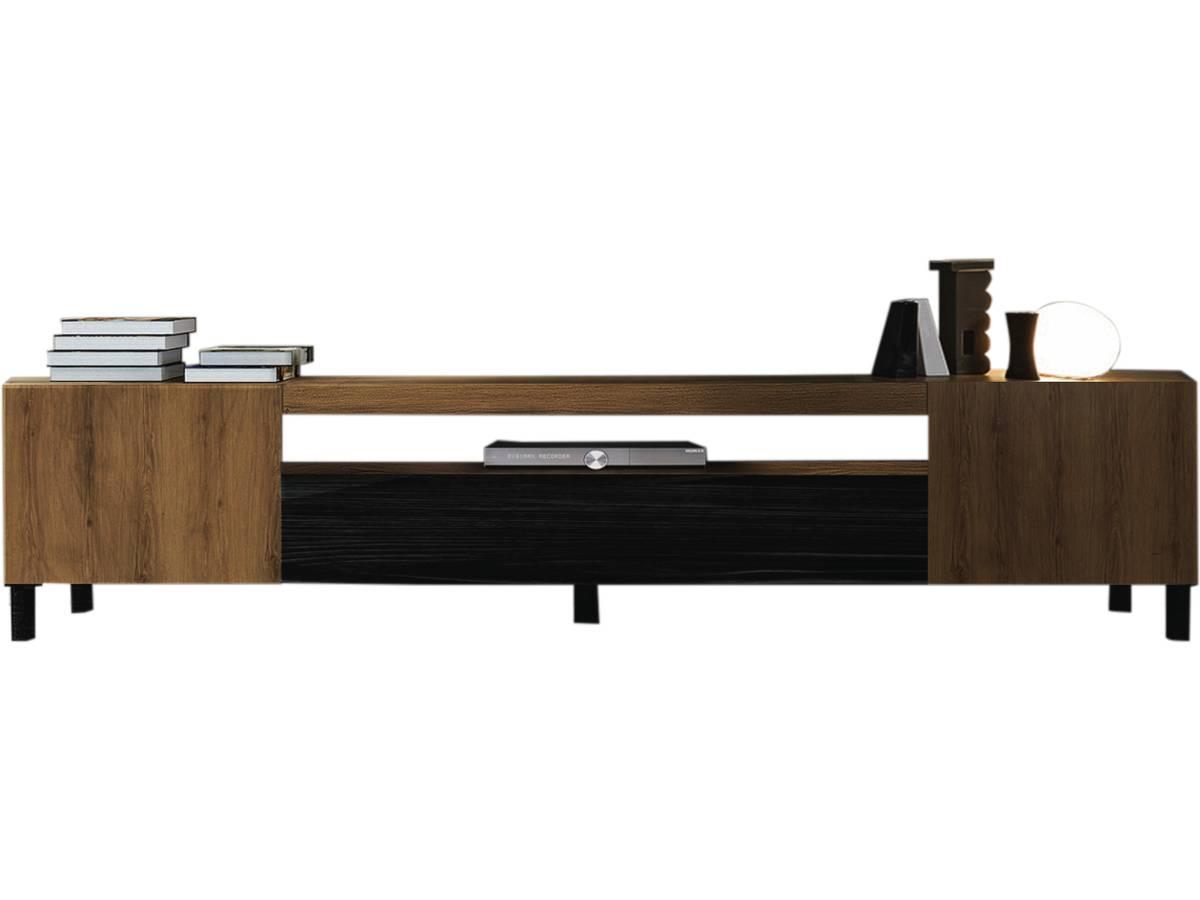 "Tv Escamotable Dans Meuble meuble tv 200 cm ""new york"" - noir / chêne 101612"