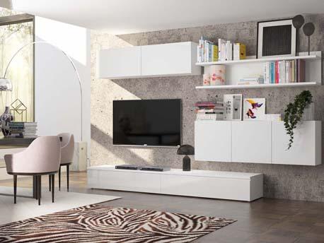 "Meuble TV mural ""Forte"" -  blanc laqué"