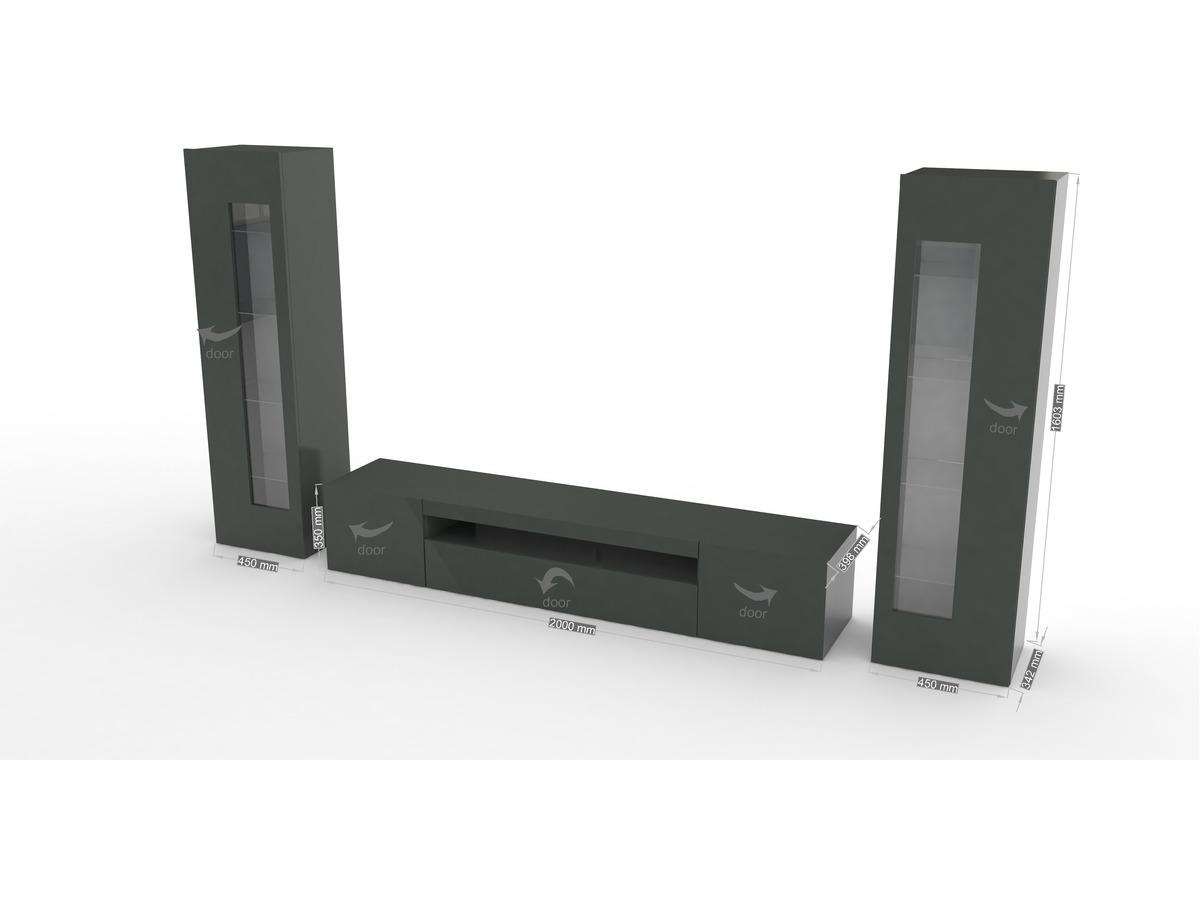 meuble tv daiquiri 300 x 40 x 161 cm anthracite laqu 94271. Black Bedroom Furniture Sets. Home Design Ideas