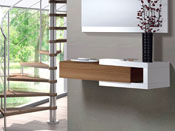 "Meuble console ""Moon"" - 95 x 26 x 19 cm - Blanc brillant/noyer"