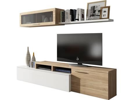 """Ensemble meuble TV réversible  """"Nexus"""" - 200 x 44 x 41 cm - Blanc/Chêne"""