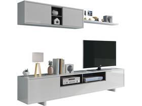 """Meuble TV """"BELUS SEJOUR"""" - 46x 200x 41cm- Blanc Brillant"""