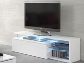 "Meuble TV LED "" Blue Light  - 150 x 41 x 43 cm - Blanc"