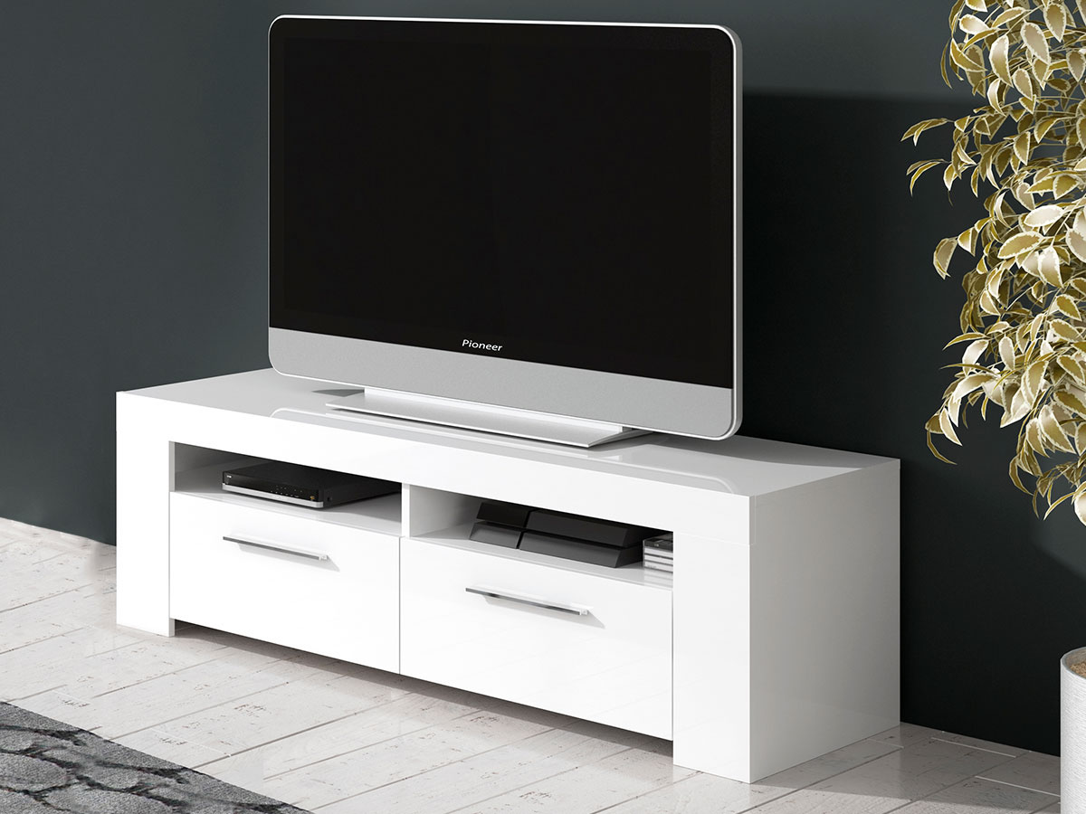 Meuble Tv Ambre 120 X 42 X 37 Cm Blanc Brillant 93486 # Meuble Tv Brillant