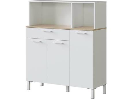 """Buffet de cuisine """"Kira"""" - 3 portes + 1 tiroir - 126 x 108 x 40 cm - Blanc"""