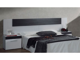 """Tète de lit + chevets """" Tempo """" - 247 x 36 x 92 cm - Blanc / noir"""
