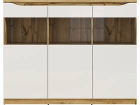 """Buffet """"Nuis"""" - 3 portes - 3 étagères - Chêne/blanc laqué"""