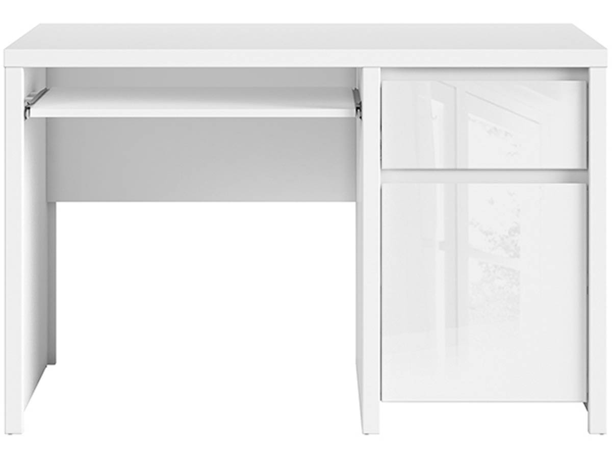 Bureau kaspian 120 x 65 x 77 cm blanc laqu 93528 for Produit bureau