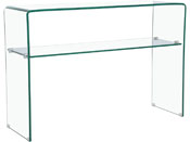 "Console ""Genova"" - 110 x 35 x 75 cm - Verre courbé transparent"