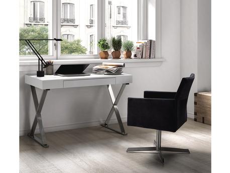 """Bureau """"Cruz""""  - 120 x 55 x 75 cm - Blanc laqué"""