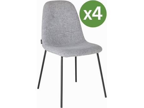 """Lot de 4 chaises en tissu """"Belles"""" - 86 x 44 x54 cm - Gris"""