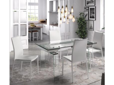 "Table repas "" Urban Cristal "" - 140/200 x 00 x 77 cm - Verre"
