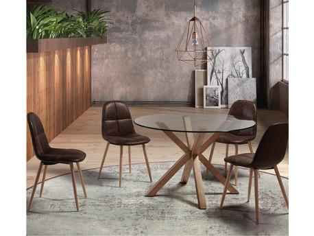 "Table repas "" Idol "" - Ø 120 x 75 cm - Verre / bois"