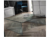Table basse carré - Verre transparent - 110 x 110 x 38 cm