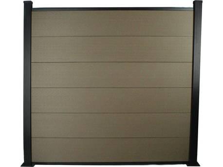 Kit Clôture 4.8x1.6m composite et aluminium - Marron - Kit de fixation offert