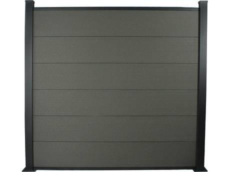 Kit Clôture 8x1.6m composite et aluminium - Gris foncé - Kit de fixation offert