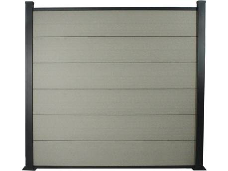 Kit Clôture 4.8x1.6m composite et aluminium - Gris - Kit de fixation offert