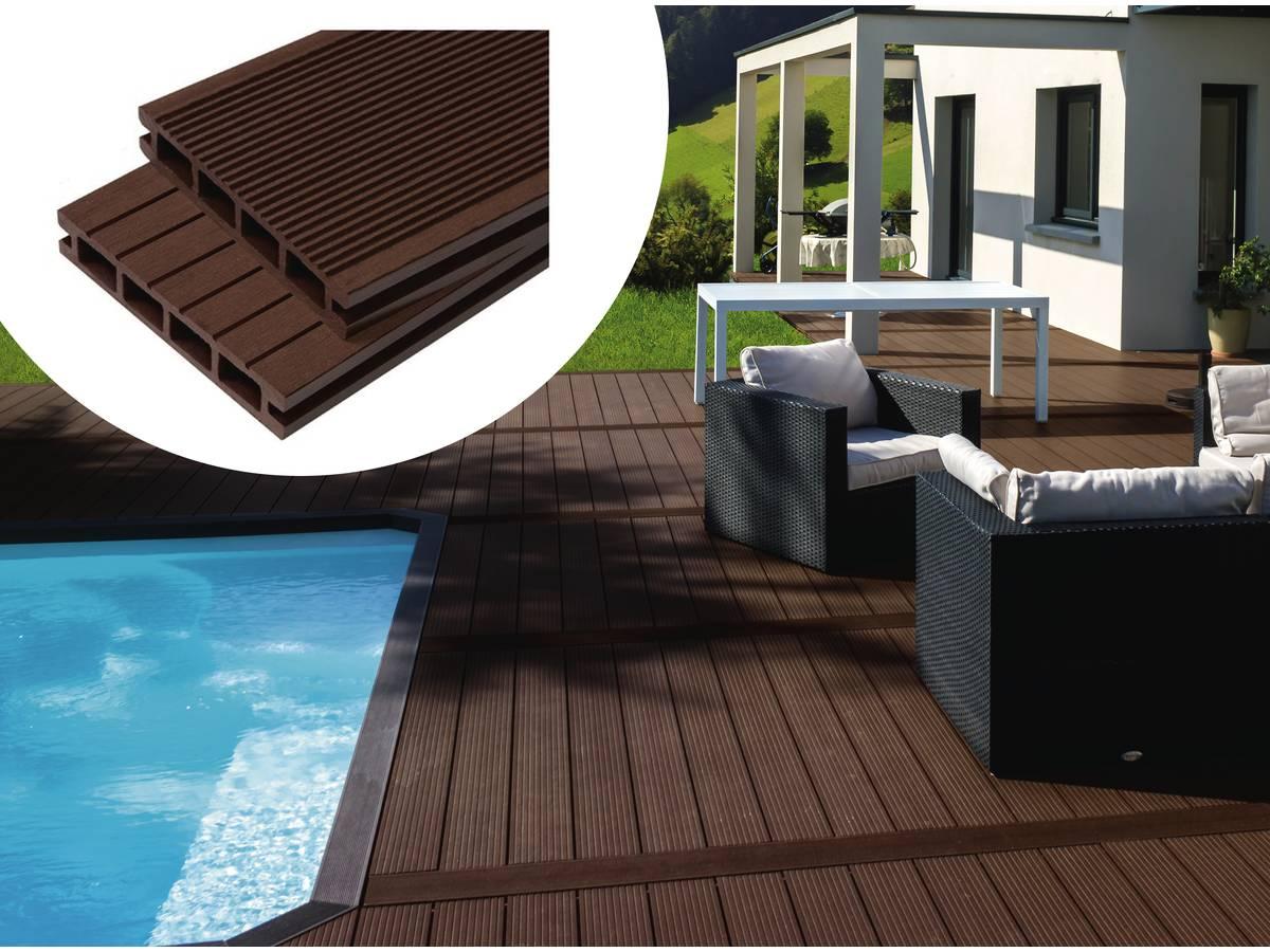 pack 5 m lames de terrasse composite alv olaires marron 97639. Black Bedroom Furniture Sets. Home Design Ideas