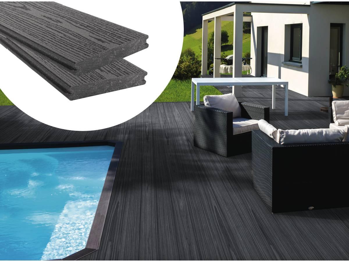 Piscine Tubulaire Terrasse Bois pack 5 m² - lames de terrasse composite co-extrudées - gris