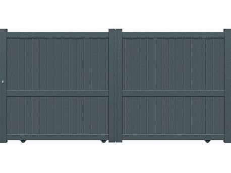 """Portail aluminium coulissant - """"Santander""""- 3,75m - Gris"""