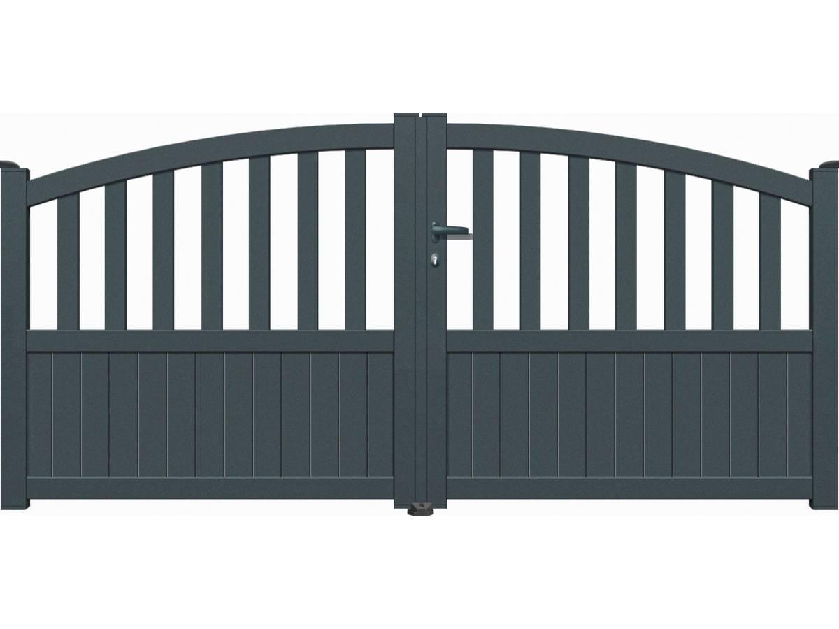 Portail aluminium battant gijon 3 50m gris 95174 for Portail alu soldes