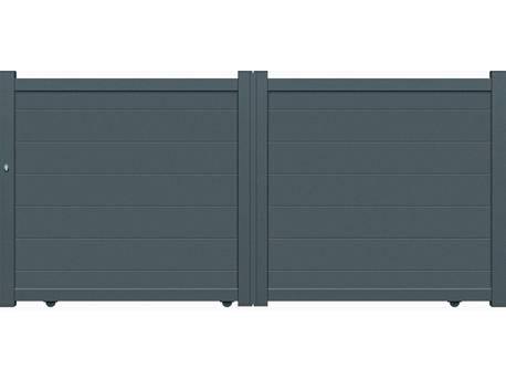 "Portail aluminium coulissant - ""Coruna"" - 3,75m - Gris"