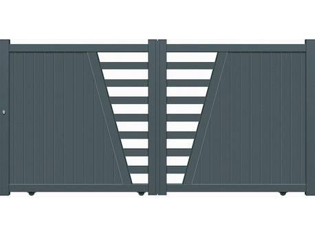 "Portail Aluminium coulissant - ""Cadix"" - 3,25m - Gris"