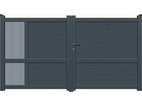 """Portail Aluminium battant - """"Valencia"""" - 4m - Gris"""