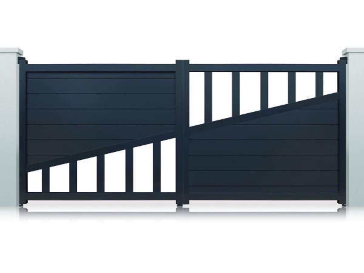 portail aluminium houston motoris battant gris 95333. Black Bedroom Furniture Sets. Home Design Ideas