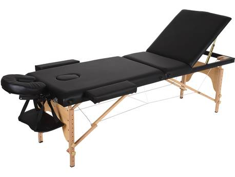"Table de massage pliante ""Puerto Rico"" - 3 Zones - 212 x 80 x 60/83 cm - Noir"