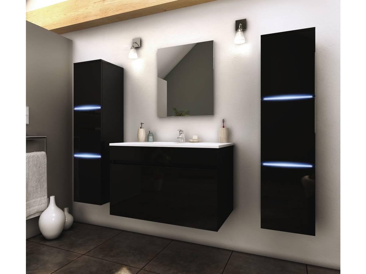 """Tablette Salle De Bain 80 Cm meuble de salle de bain - """"lecce"""" - 80 cm + 2 colonnes led"""