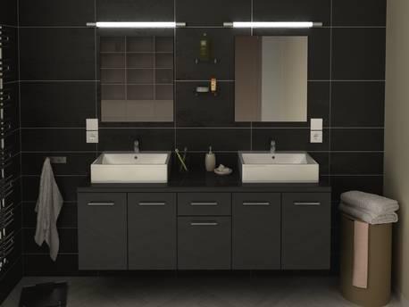 """Meuble de salle de bain - """"Orelia"""" - 150 cm - Gris"""